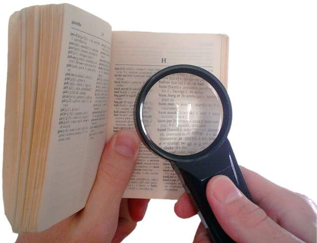 Dictionary with Magnifying Glass