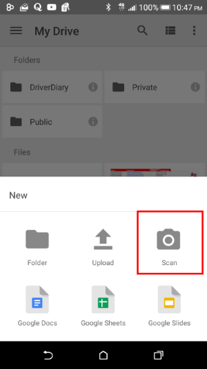 Google Drive Add New File By Scanner