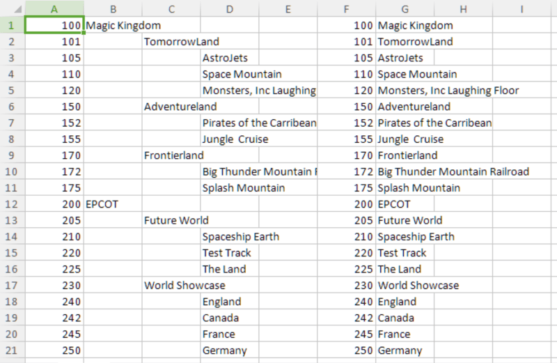 Screenshot of flattened names of attractions