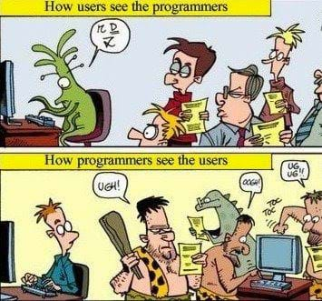 Cartoon about a alien as a programmer with people looking at him weird