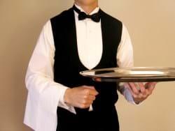 A Waiter Holding a Tray