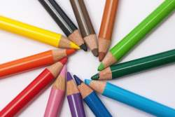 Colored Pencils in a circle