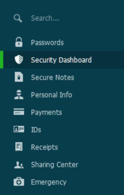 Dashlane - Desktop Menu