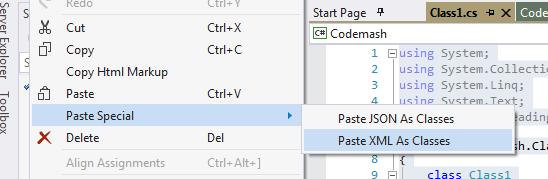 Paste XML as Classes