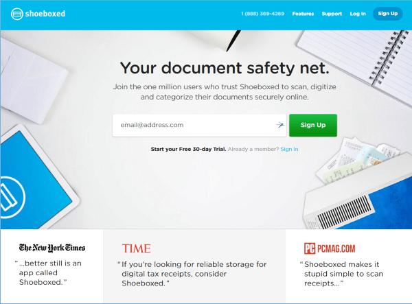 Shoeboxed.com screenshot