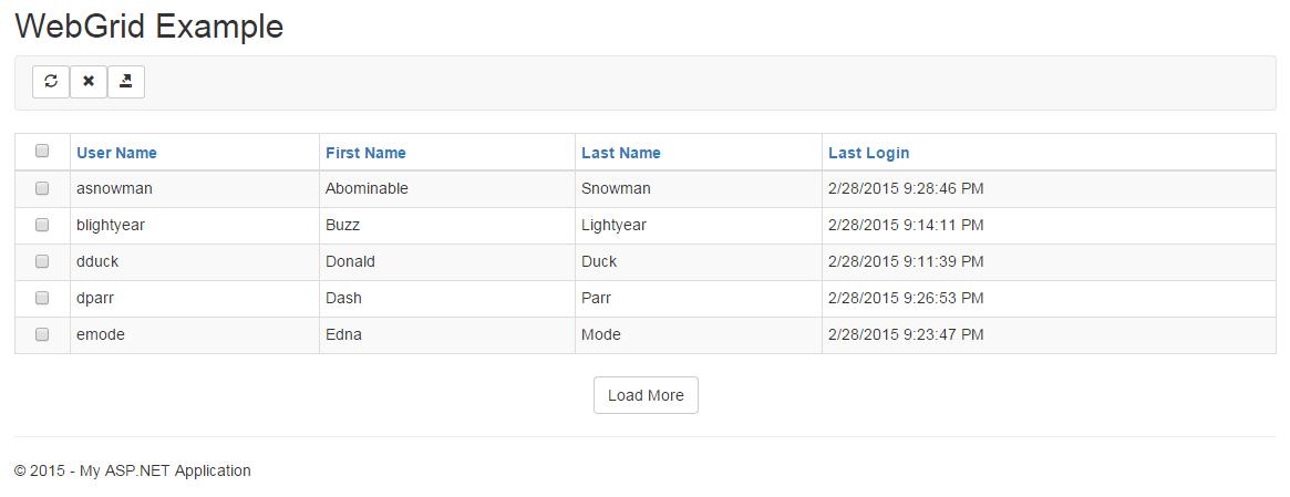 WebGrid Screenshot