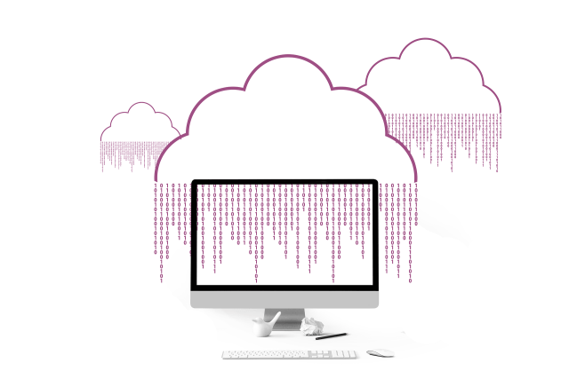 Sketch image of cloud on a monitor