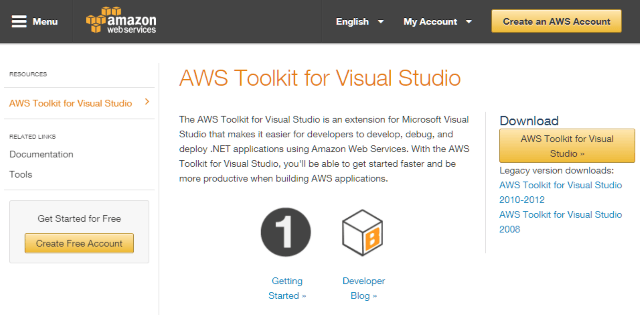 Screenshot of Amazon Web Services Visual Studio Extension