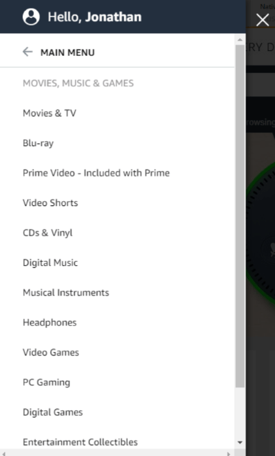 Amazon Secondary Menu