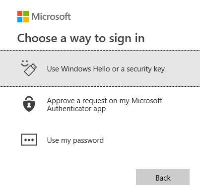 Screenshot: Choose a way to sign in