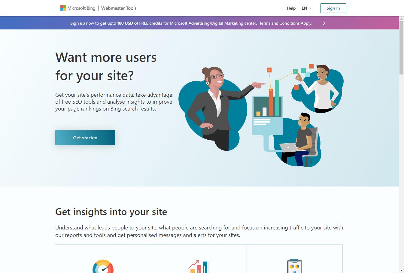 Bing Webmaster Tools Screenshot