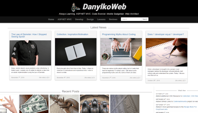 Version 2 screenshot of DanylkoWeb Main Page
