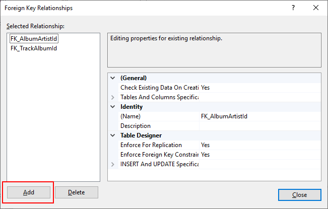 Screenshot of table relationships in SQL Server Management Studio