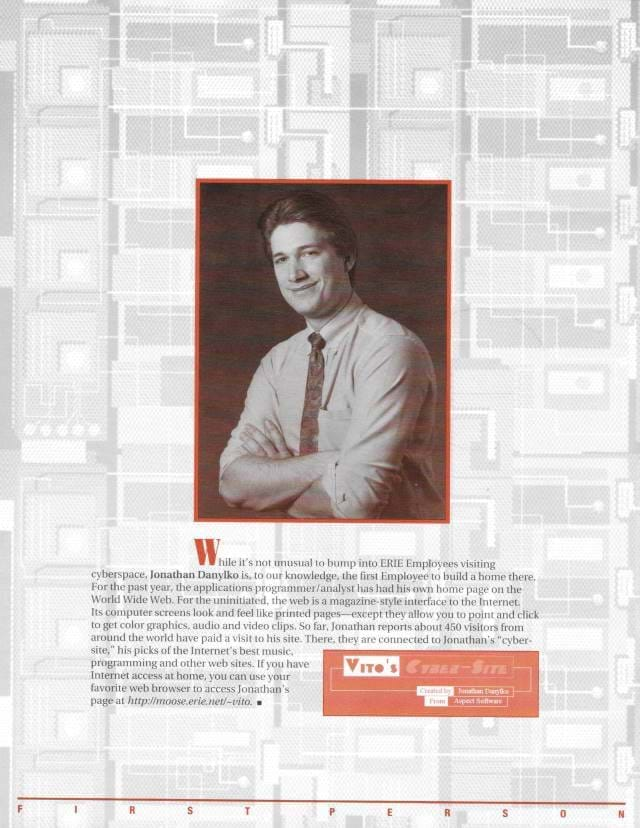 EFM (Erie Family Magazine) Inside Cover of February 1996 Edition