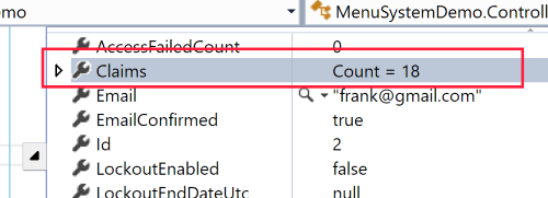 Screenshot of Debugging Microsoft Identity with Frank's Claims.