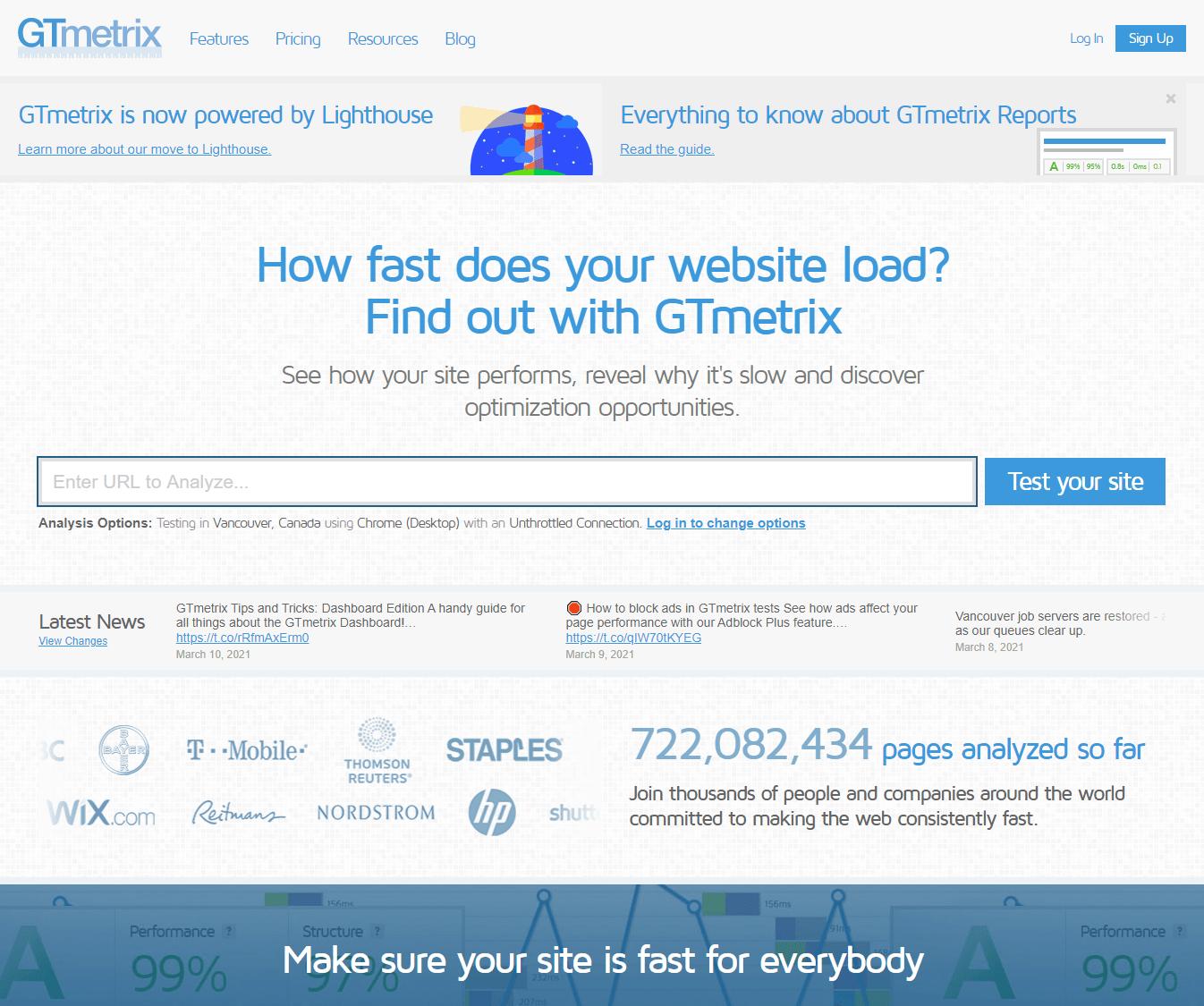 GTMetrix Screenshot