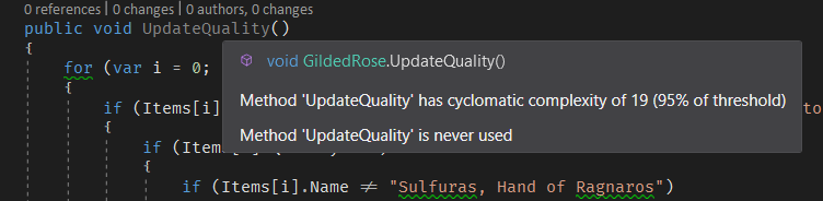 Screenshot of Gilded Rose Kata's UpdateQuantity method