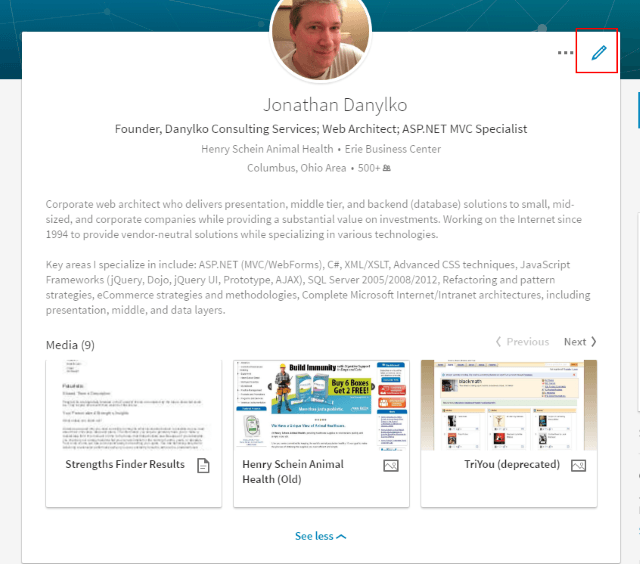 Jonathan Danylko LinkedIn Profile Summary w/ mini portfolio
