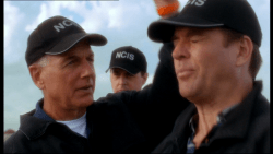 Actor Mark Harmon performing his famous Gibb's headslap