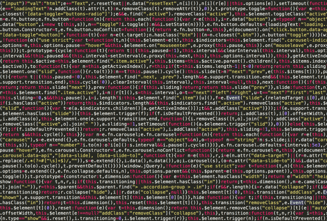 Long screen of JavaScript code