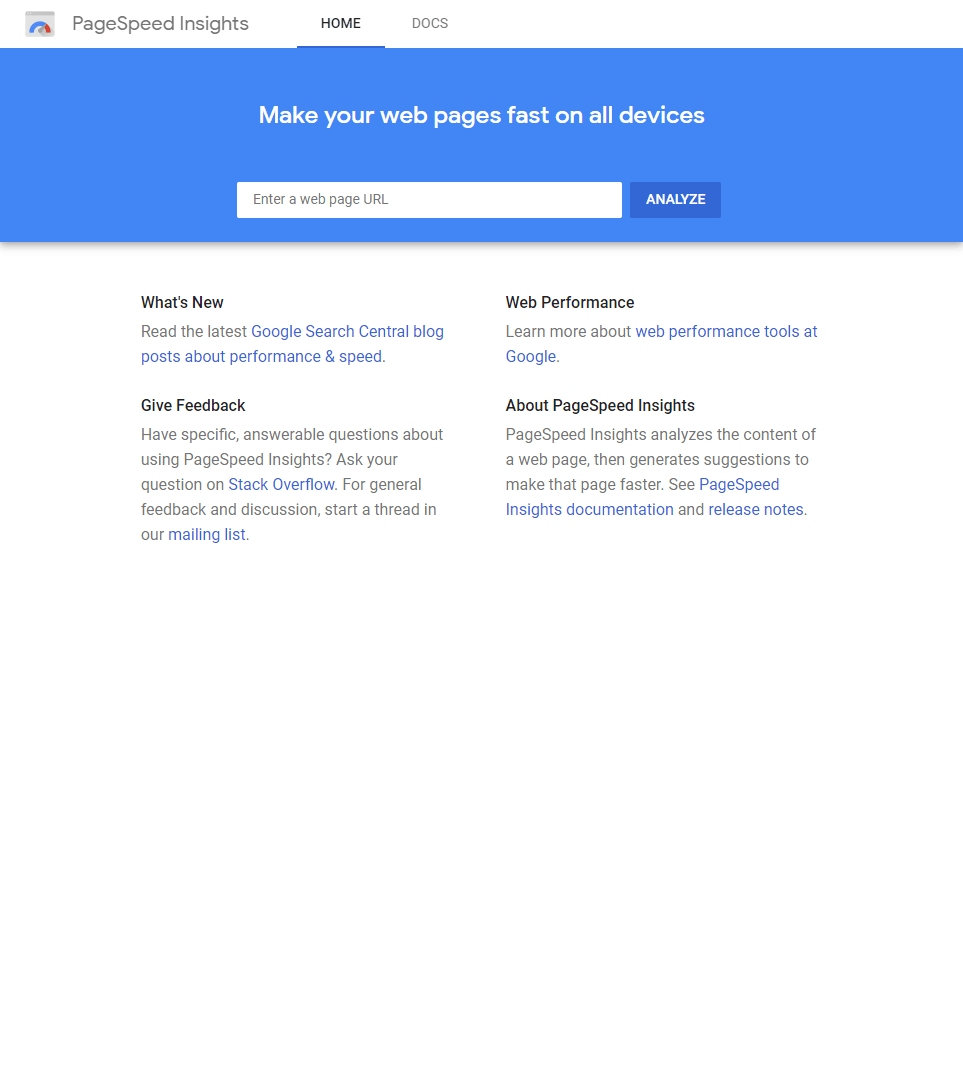 Google PageSpeed Insights Screenshot