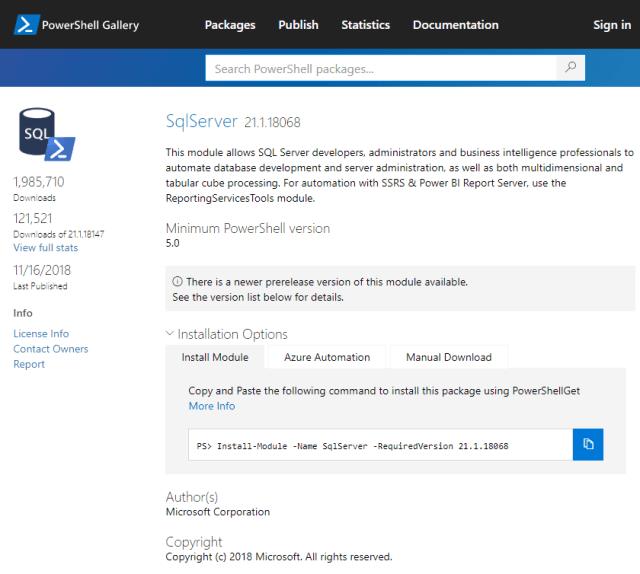 Screenshot of installing SQL Server module