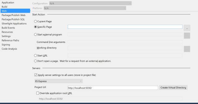 Screenshot of Project Settings Web Tab