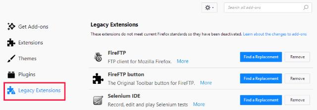 Firefox Quantum Extensions Area