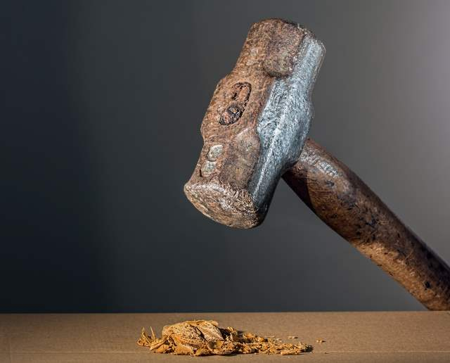 Hammer smashing a walnut