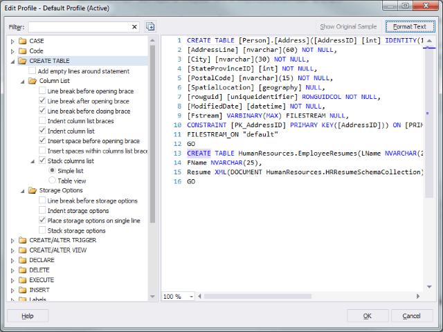 SQLComplete Formatting Dialog