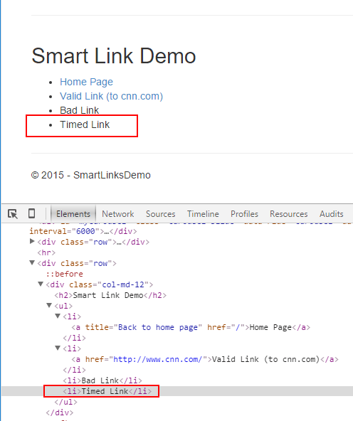 Result of setting a smartlink to a date of October 31, 2015