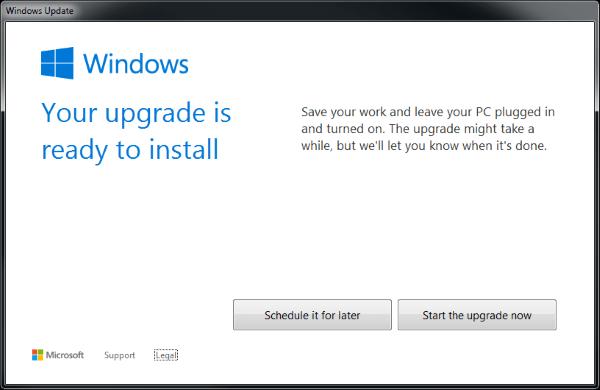 Windows 10 Acceptance Screen