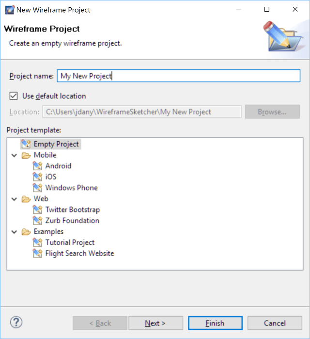 WireframeSketcher New Project Dialog