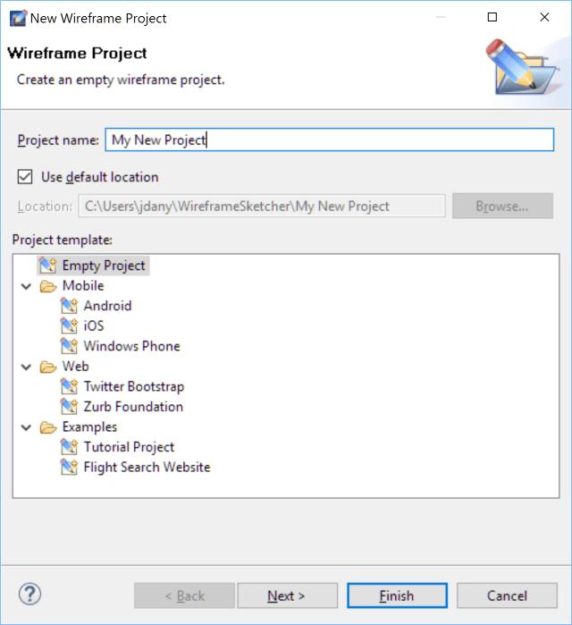 WireframeSketcher New Project Dialog