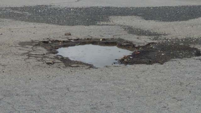 A pothole on the road