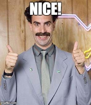 Picture of Borat with two thumbs up