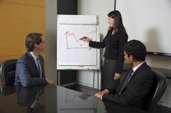Woman pointing to a chart with two men in a meeting room
