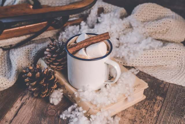 Mug of hot chocolate in a holiday setting