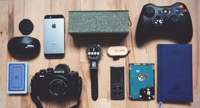 Collection of gadgets for travel