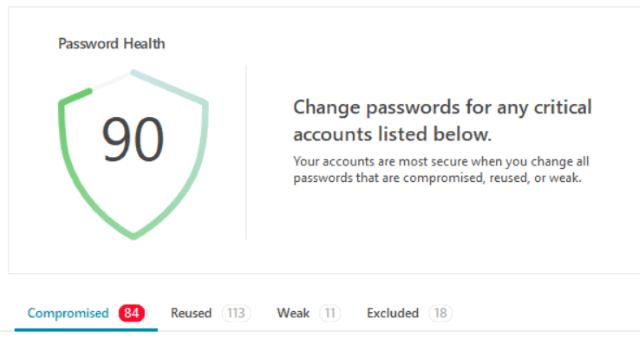 Password Health screenshot from Dashlane 6.0