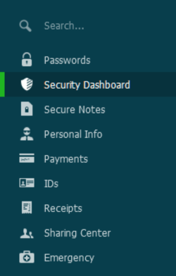 Dashlane - Desktop Menu