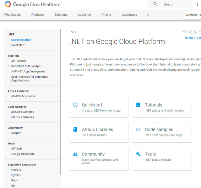 Screenshot of Google's Cloud Platform for .NET Developers