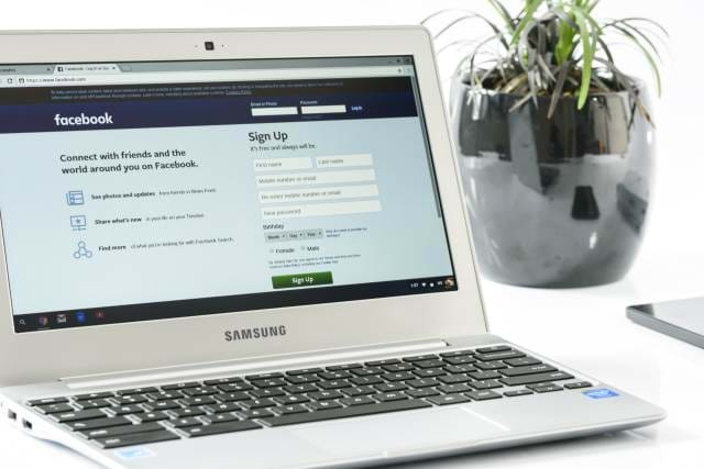 Screenshot of Facebook on a laptop