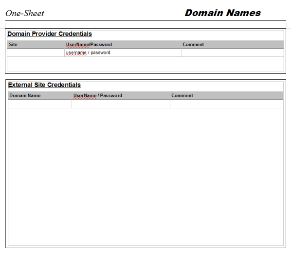 One-Sheet for Domains