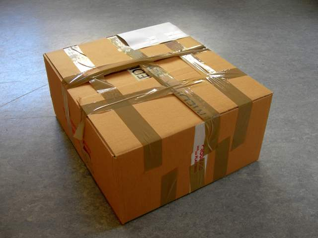 Package with tape all over it.