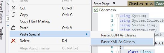 Paste XML as Classes
