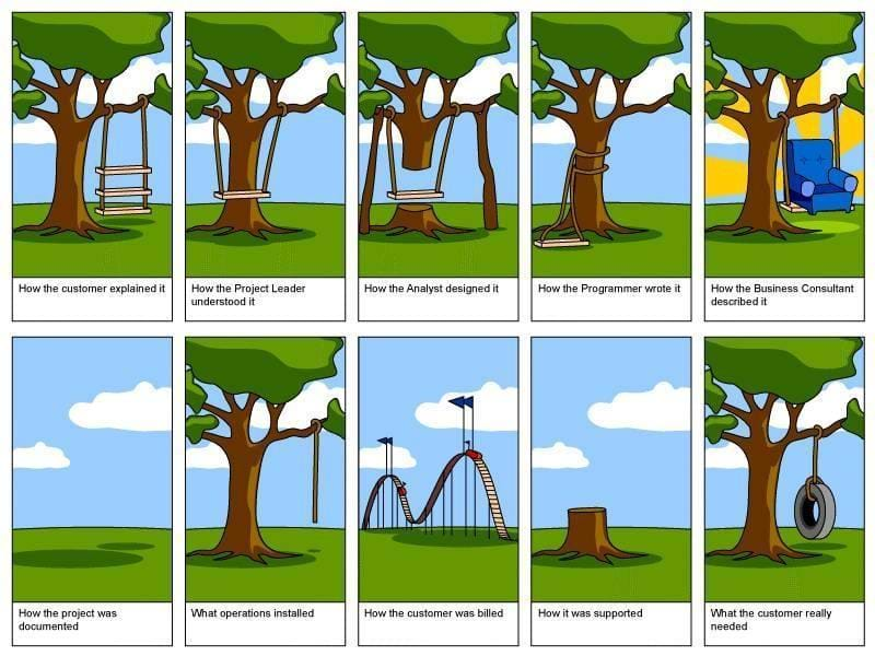 Cartoon of a tire-swing based on what a programmer is given for requirements.