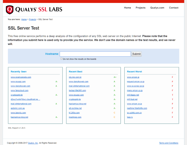 Screenshot of Qualys SSL Tester