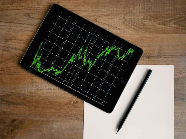 Image of a line chart on a desk