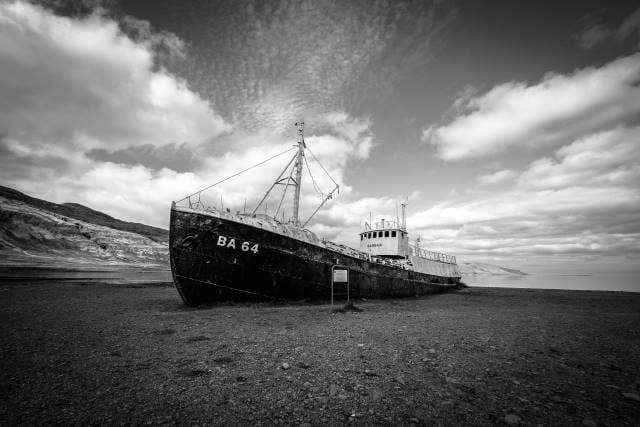 Ship stranded on sand